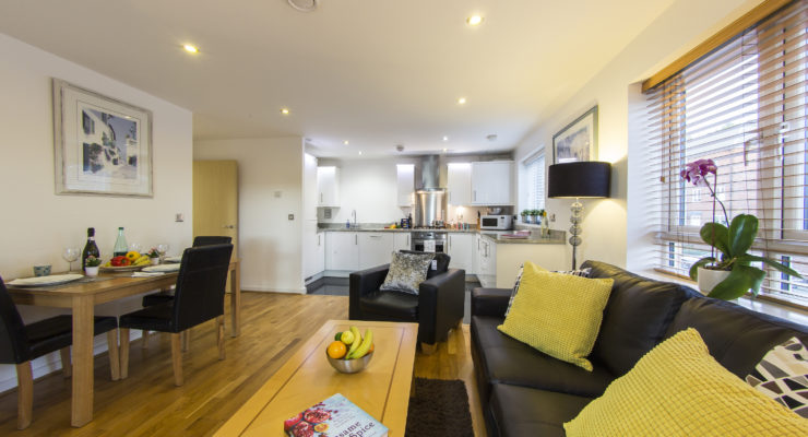 elstree apartment 1 kitchen and living area