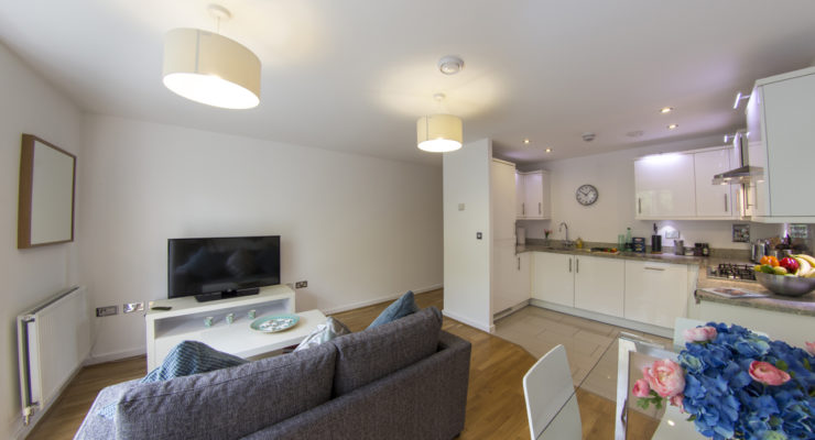 elstree apartment 2 living area and kitchen